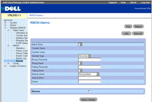 Example of Alarm management in Dell Openmanage Switch Administrator