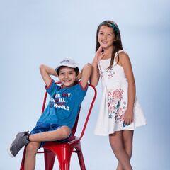 Los niños Diego Chávez y Aída Caballero como <i>Matías Figueroa</i> y <i>Milagros Vidal</i>