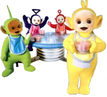 Teletubbies With Bowls Of Tubby Custard Clipart