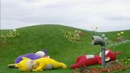 Tinky Winky, Laa-Laa and Po sleeping outside