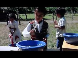 The children making bubbles