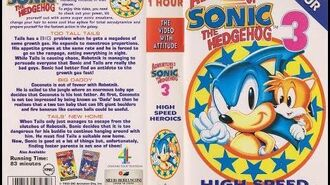 Original VHS Opening The Adventures Of Sonic The Hedgehog Volume 3 (UK Retail Tape)