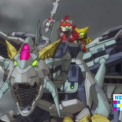 Bravenwolf and Lydendor riding on the Light Tenkai Dragon