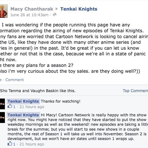 Evidence for a season 2 of Tenkai Knights to come.