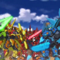 The core Tenkai Knights (now 5) in Elemental Titan Mode