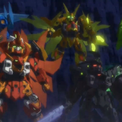 Tenkai Knights Elemental Titan Mode and Dromus Titan Mode.