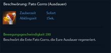 Beschwörung Pato Gorro Ausdauer