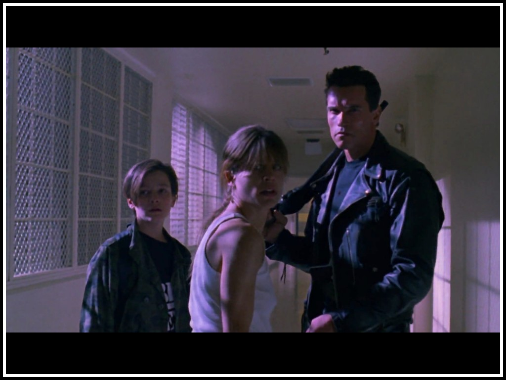 Sarah Connor, John Connor and the T-800 in Terminator 6 42