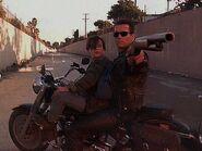 Terminator and jhon on the bike
