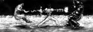 Shokichi hitting both Infernalis and Silk Moth Terraformar