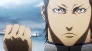 Shokichi preparing to inject himself