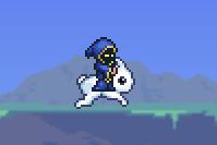 Conejo montura saltando