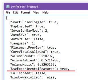 UseExperimentalFeatures in config