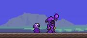 Usuario usando tinte purpura