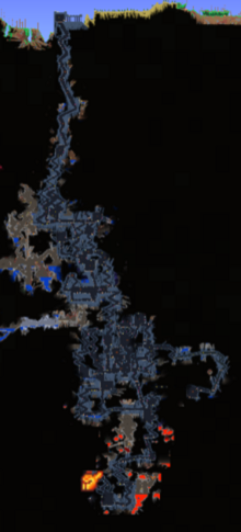 The dungeon in a large world.