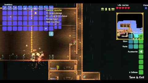 Terraria Grenade launcher, Proximity Mine Launcher and the Rocket Launcher