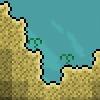 Wasserblatt auf Sand