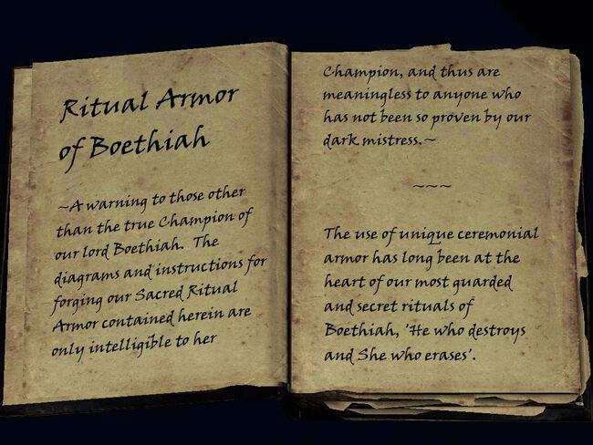 Ritual Armor Of Boethiah Book The Elder Scrolls Mods Wiki