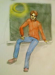 Матвей Багров сидит на подоконнике