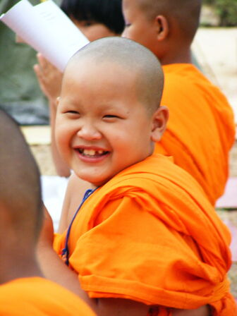 Thai buddhist monk smile