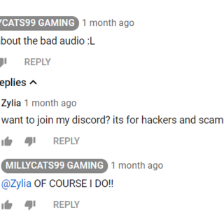 Here she agrees to join a scammer and hacker discord]]