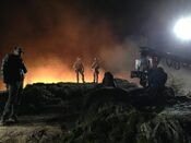 Godzilla 2014 Soldiers Scene Shooting at Night