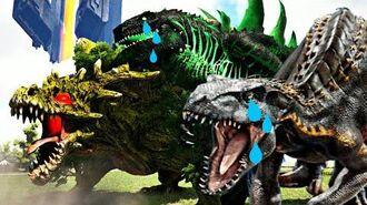 Fugindo do GodZilla de ASA! A Vingança Falhou! Dinossauros Ark Survival Evolved