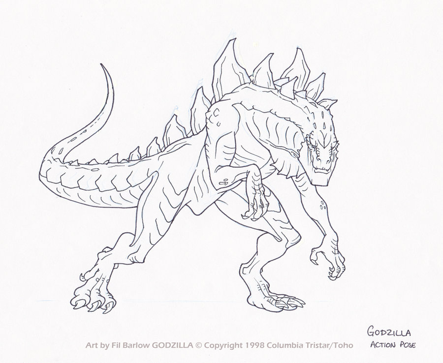 Image Zilla Action Pose By Filbarlow D54e Jpg The Zetton Coloring Pages