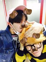 JiHope selfie 160219 with dog filter