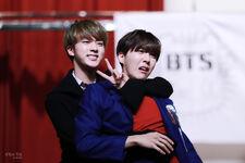 Jin and J-Hope at fanmeet 2015