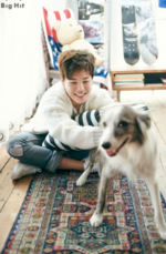 Jimin for Naver with a dog