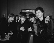 V, Jin and J-Hope with Ansel Elgort May 22, 2017
