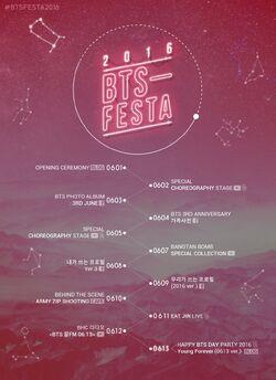 BTS Festa 2016 Timetable