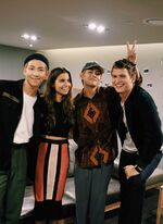 Rap Monster and V with Ansel Elgort Aug 25, 2017 (2)