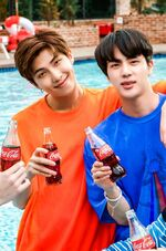 RM and Jin Coca Cola Korea Aug 2018