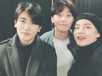 V with Park Seo Joon and Park Hyung Sik Twitter Dec 11, 2017