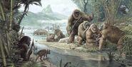 Gigantopithecus with homo erectus-large