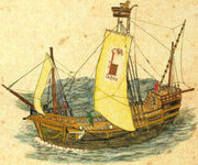 Medieval sailing boat