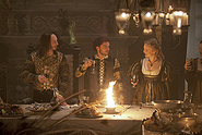 002 The Wolf and the Lamb episode still of Ferdinand II of Naples, Alfonso of Aragon and Lucrezia Borgia 250px