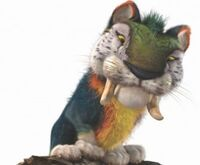 MACAWNIVORE-With-the-body-of-a-small-tiger-an-over-sized-head-and-the-colorization-of-a-Macaw-Parrot-the-Macawnivore-is-an-imposing-creature-who-towers-over-the-Croods.-e1363702572594-300x248