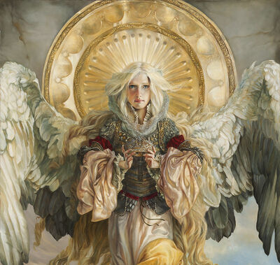 Zadkiel painting by Heather Theurer