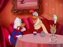 Scrooge and Launchpad having lunch