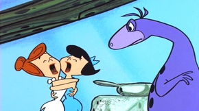 Dino scares Wilma and Betty
