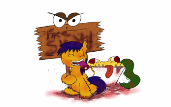 18987 - Friendship is Delicious artist-SandJosieph blood gore hunting friend hunting sign questionable sketti trap