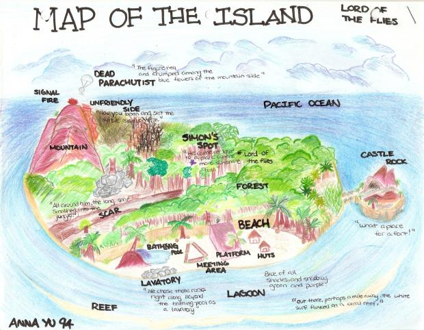 Lord Of The Flies Map Image   Map of the island lord of the flies 620. | The Fly Lord  Lord Of The Flies Map