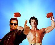 Arnie sly bro pose