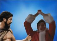 Leonidas and Garbage Guy Bros Pose