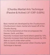 Chunbu Martial Arts Technique