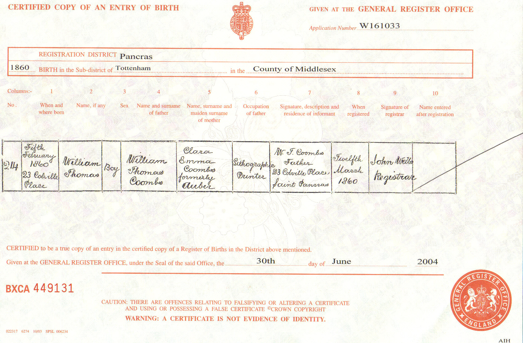 William thomas coombs 1860 1947 the genealogy wiki fandom williams birth certificate aiddatafo Images
