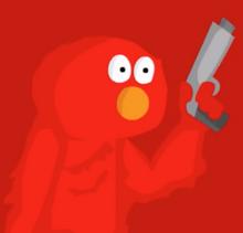 Evil Elmo With Gun